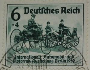 Briefmarke von 1939 Benz Patentmotorwagen